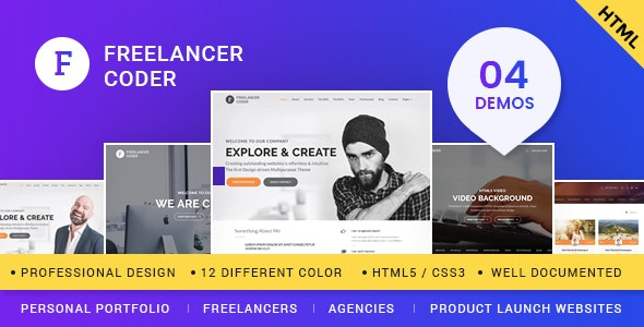 Freelancer Coder – One Page Responsive Portfolio Template - Portfolio Creative