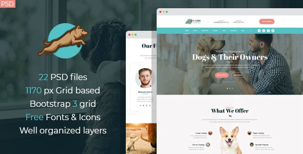 Canis - dog behavior and obedience training PSD Template - Business Corporate