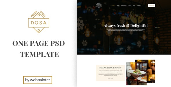 DOSA One Page Restaurant PSD Template - Food Retail