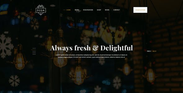 DOSA One Page Restaurant PSD Template