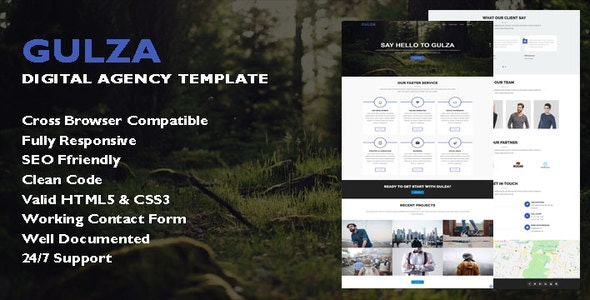 Gulza - Digital Agency One Page Template - Technology Site Templates