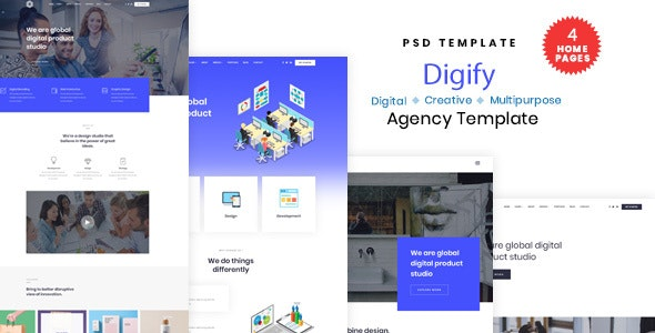 Digify - Digital and Marketing Agency PSD Template - Technology Photoshop