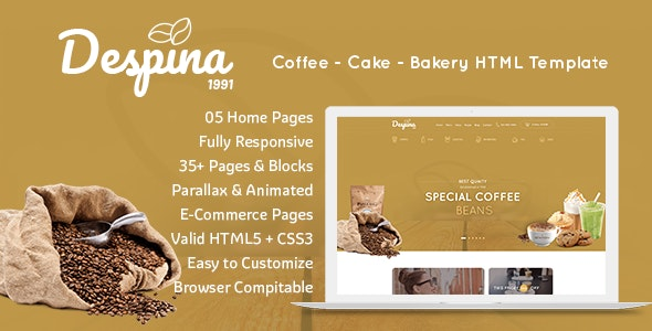 Despina - Coffee, Cake & Bakery HTML Template - Restaurants & Cafes Entertainment