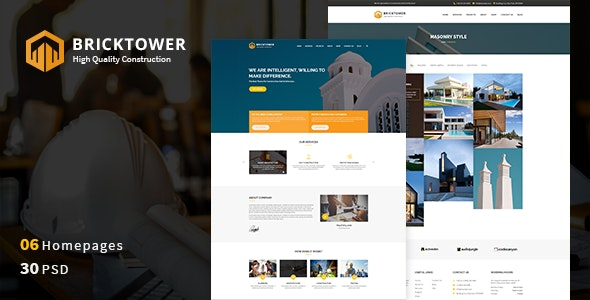 Bricktower - Construction PSD Template - Business Corporate