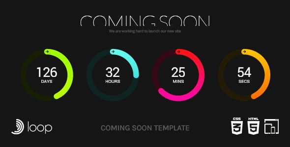 Loop - Animated Coming Soon Countdown Template - Under Construction Specialty Pages