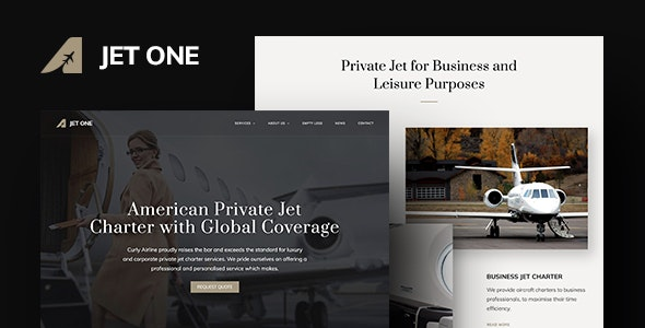 Jet One - Private Airline WordPress Theme - Travel Retail