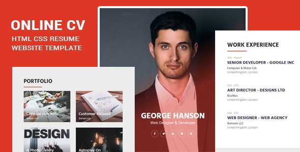 Online Cv Html Css Resume Website Template By Imkktheme