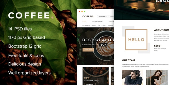 Coffee - PSD Template for coffee beans online store - Food Retail