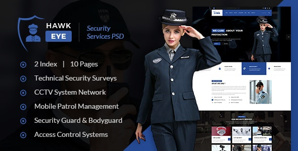 Hawkeye - Security Service PSD Template - Business Corporate
