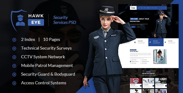 Hawkeye - Security Service PSD Template