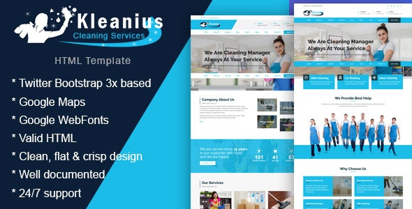 Kleanius - Cleaning Services HTML Template - Corporate Site Templates