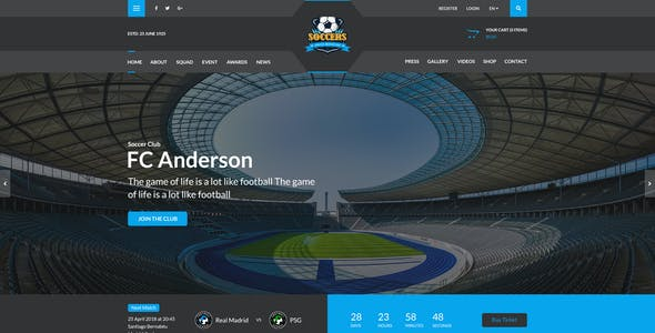 SoccersPress - Sporting & News Magazine PSD Template