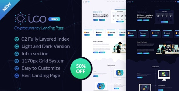 ICO Pro - Bitcoin Cryptocurrency Landing Page Template - Technology Photoshop