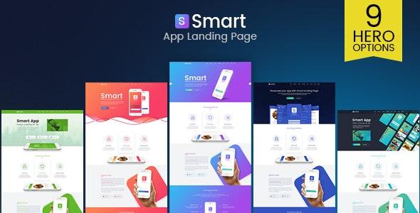 Smart - App Landing Page PSD Template - Software Technology