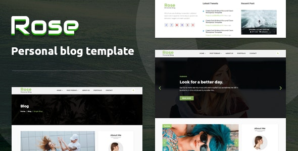 Rose - Personal Blog HTML Template - Personal Site Templates