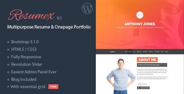 ResumeX - Multipurpose Resume & One Page Portfolio - Portfolio Creative