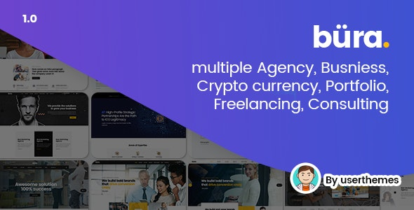 Bura - Multiple Agency, Business, Crypto Currency, Portfolio, Freelancing, Consulting PSD Template - Business Corporate