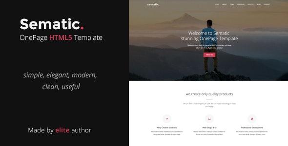 Sematic - One Page HTML5 Template - Portfolio Creative