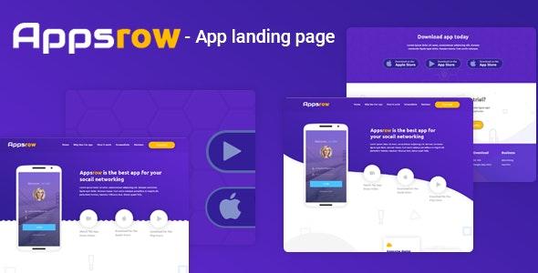 Appsrow - App Landing Page PSD Template - Software Technology