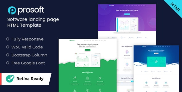 ProSoft - Software Landing Page HTML Template - Software Technology