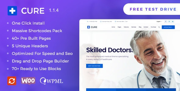 Medical Cure - Health and Clinical WordPress Theme - Health & Beauty Retail