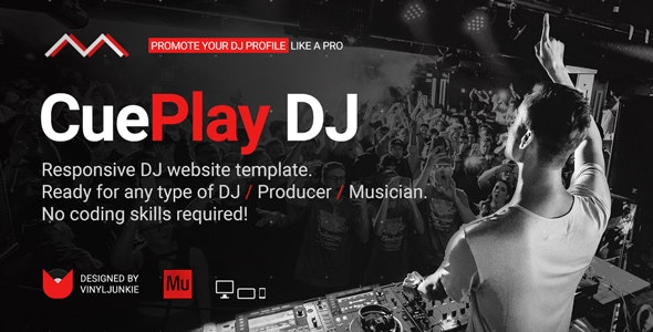CuePlay - DJ / Producer / Music Band Responsive Website Muse Template - Personal Muse Templates
