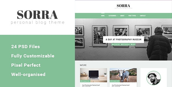 Sorra - Personal Blog PSD Template - Personal Photoshop
