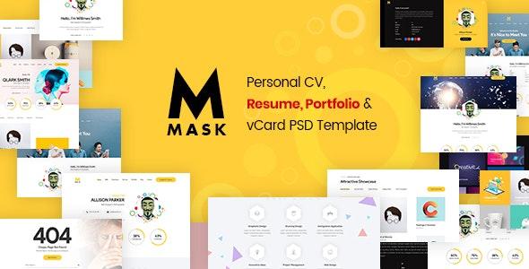 Mask - Personal CV, Resume, Portfolio & vCard PSD Template - Personal Photoshop