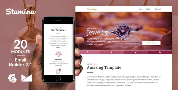 Stamina Responsive Email Template + Online Emailbuilder 2.1 - Catalogs Email Templates