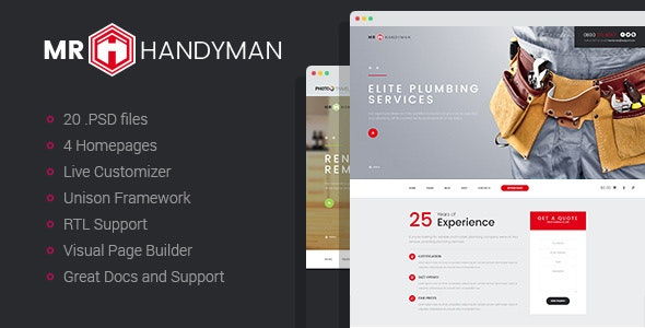 Handyman - House Repair & Renovation WordPress Theme - Business Corporate