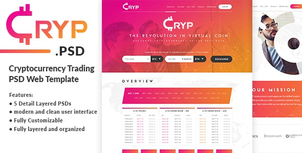 Cryptocurrency Trading PSD Web Template - Business Corporate