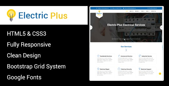 Electric Plus - Electricity Services HTML5 Responsive Template