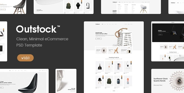 Outstock - Clean, Minimal eCommerce PSD Template - Shopping Retail