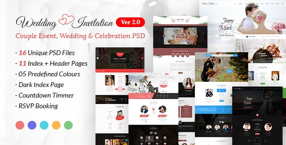 Wedding Invitation - Couple Event & Celebration PSD Template - Events Entertainment