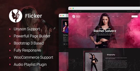 Flicker – Musician WordPress Theme - Art Creative
