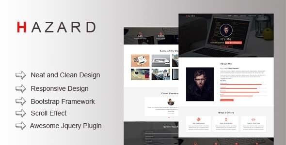 HAZARD Personal Portfolio Template - Portfolio Creative