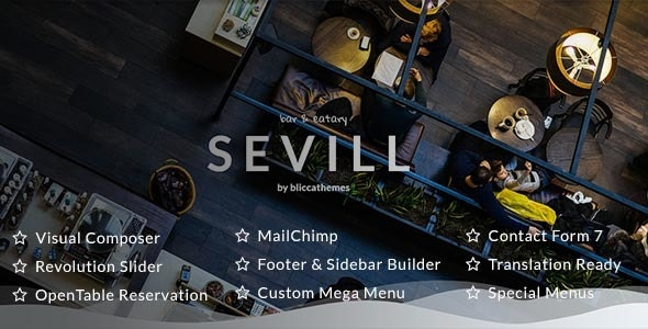 Sevill - Restaurant Cafe WordPress Theme - Restaurants & Cafes Entertainment