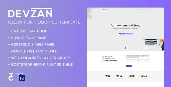 Devzan - Minimal Personal Portfolio PSD Template - Personal Photoshop