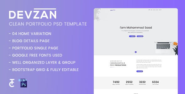 Devzan - Minimal Personal Portfolio PSD Template
