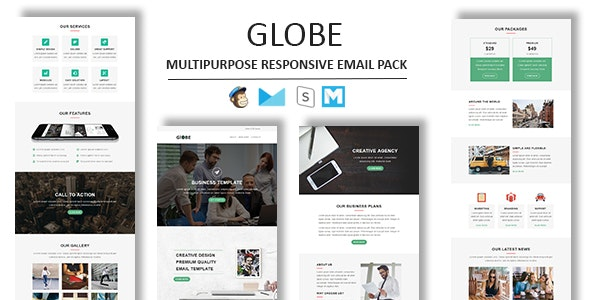 Globe - Multipurpose Responsive Email Template With Stamp Ready Builder Access - Newsletters Email Templates