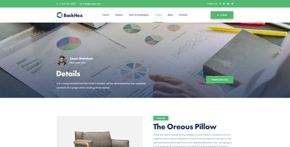 Backhex - Startup & Crowdfunding PSD Template