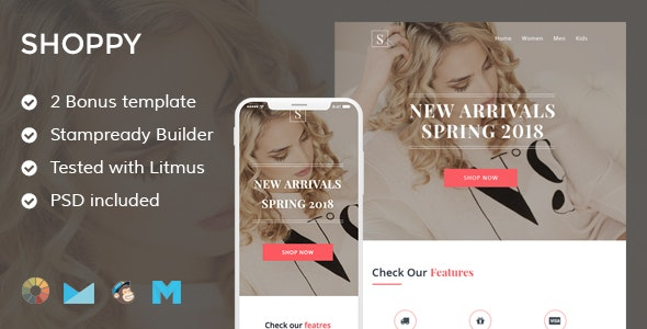 Shoppy 3 Ecommerce Email Template + Stampready Builder + Mailchimp + Mailste - Email Templates Marketing