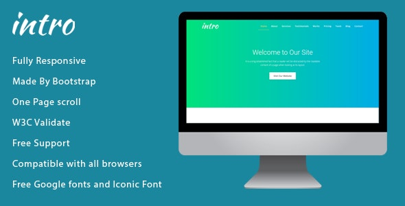 Intro - OnePage Responsive HTML Template - Business Corporate