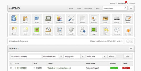 eziCMS an Almost Complete Fresh CMS Skin