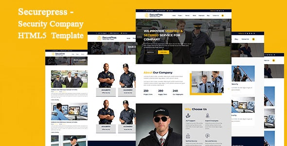 Securepress - Security Company HTML Responsive  Template - Corporate Site Templates