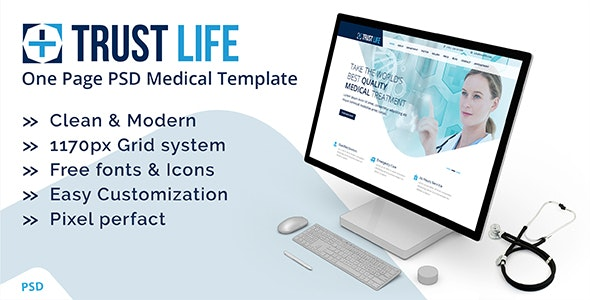 Trustlife - one page PSD Medical template - Health & Beauty Retail