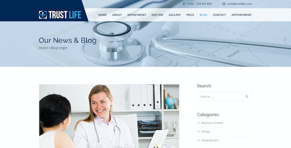 Trustlife - one page PSD Medical template