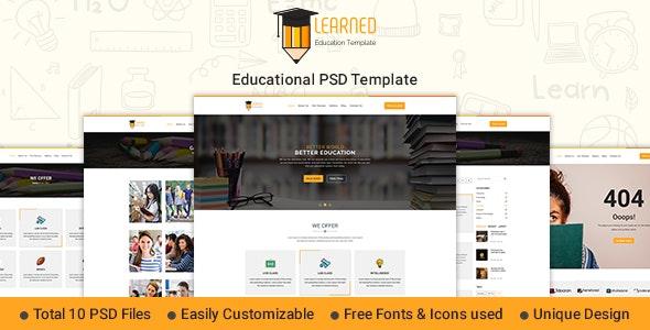 Learned - Education PSD Template - Photoshop UI Templates