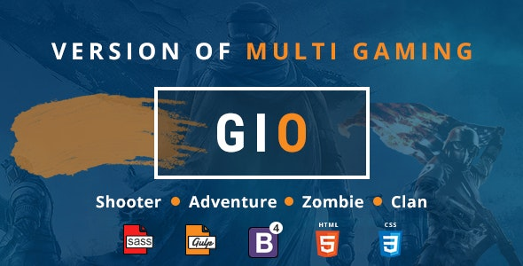 GIO - Gaming Community Forum With Team Tournament Shooter Clan Adventure and Zombie Game Template - Creative Site Templates