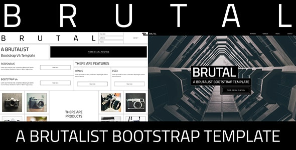 Brutal - A Brutalist Bootstrap v4 One Page HTML Template - Experimental Creative